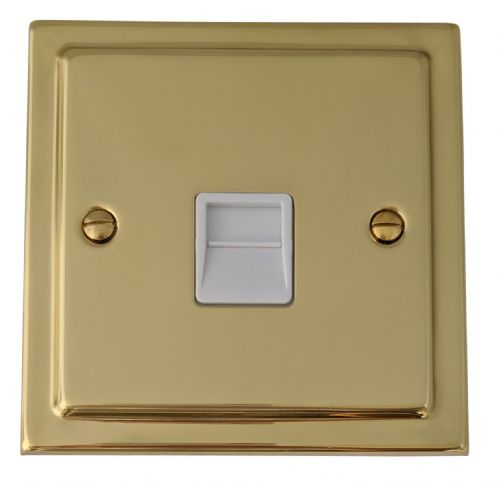 G&H TB34W Trimline Plate Polished Brass 1 Gang Slave BT Telephone Socket